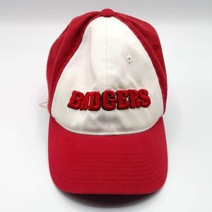 Adidas red white embroidered Wisconsin Badgers hat